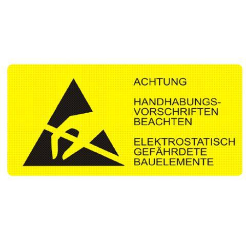 EP0602003 Etiketten ESD-Logo mit Warnhinweis