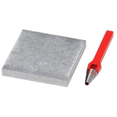 EP0599001 Locheisen Set mit Aluplatte zum Stanzen von Löchern für Druckknopfnieten in Tisch- und Bodenbeläge