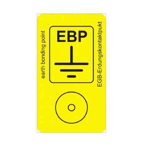 Erdungspunkt-Aufkleber, EBP, PVC-Unterdruckschild