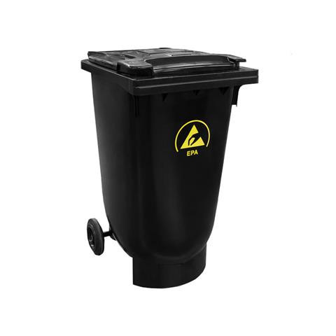 ESD-Mülltone mit Deckel und Rädern, 120 l