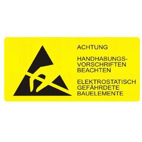 Etiketten ESD-Logo mit Warnhinweis